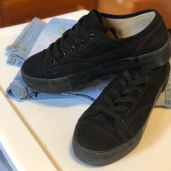 H\u0026M Shoes | Hm Black Lace Sneakers
